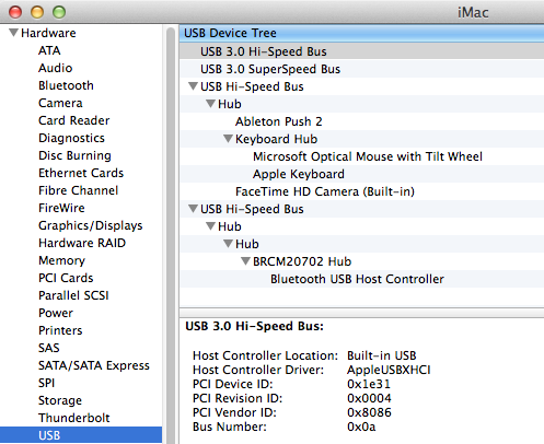 The OSX utility System Information should reveal Push 2 under the USB devices in use.