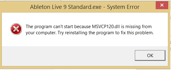 Unable to install and/or launch Live due to missing dll (Windows
