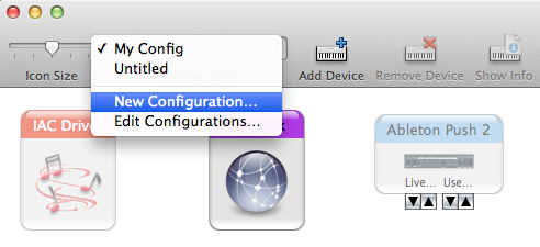 Creating a new MIDI configuration on OSX