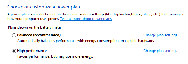How to enable the High performance power plan (Windows