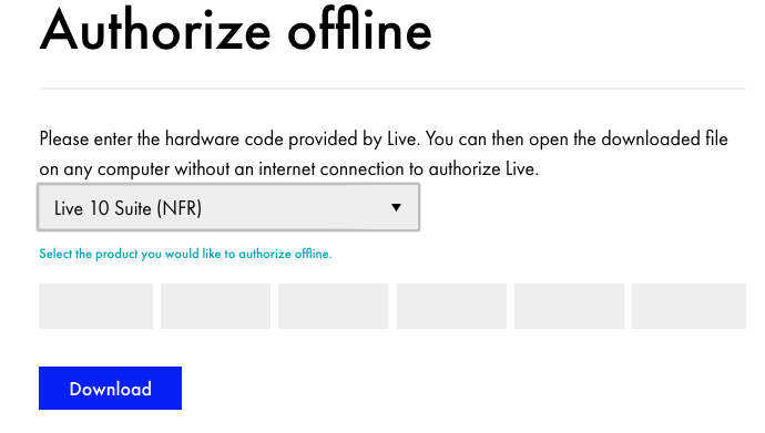 how to authorize ableton live offline
