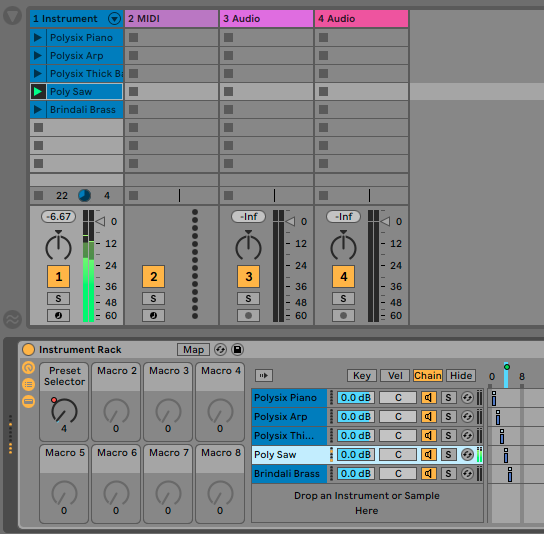 Using Instrument Racks to switch presets or devices – Ableton