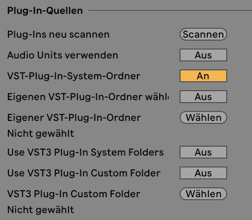 VST / AU Plug-ins werden nicht angezeigt – Ableton