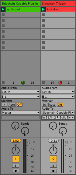 Sidechaining a third party plug-in – Ableton