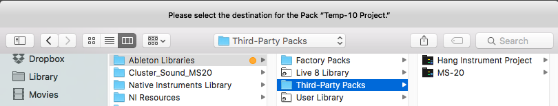 Using third-party Packs – Ableton